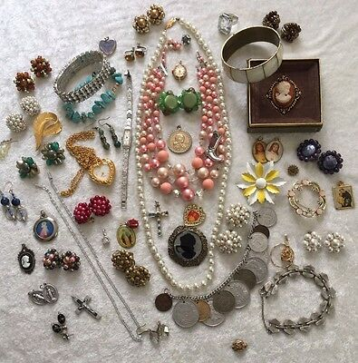 Vintage Mixed Jewelry Collection Bracelet Earrings Ring Brooch Lot 2