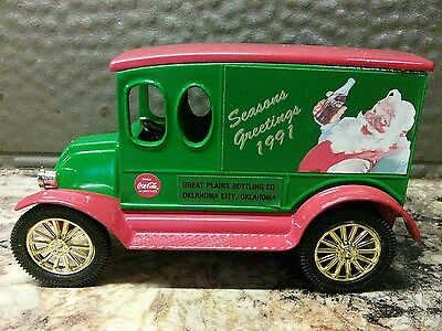 New Joseph L Ertl Coca-Cola 1991 Die Cast Coin Bank~1920 Truck~Seasons Greetings