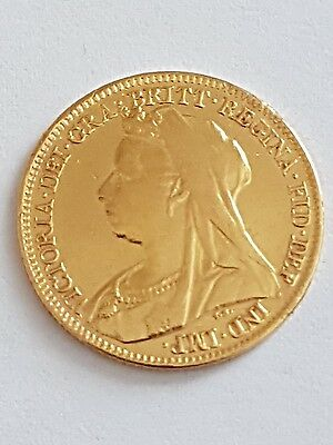1897 22ct Victorian Solid Gold Half Sovereign Coin