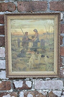 Antique Tramp Art Gesso Gilt Wood Picture Frame Kitsch Hunting Print