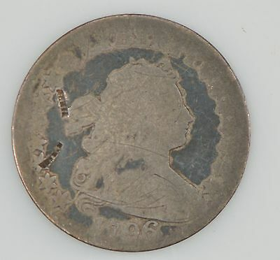 1796 Draped Bust Dime, Small Eagle Reverse, Engraved on Obverse *Z35
