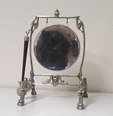Stunning  Victorian Silver Plated Dinner Gong With Striker