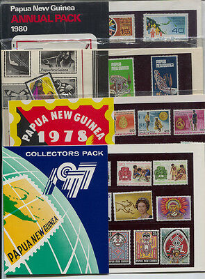 Papua New Guinea 1977 - 1980 , 4 Year Packs Complete MNH