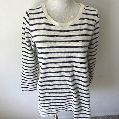 Motherhood Maternity Women's Stripped Navy Blue Long Sleeve Sweater Size Large