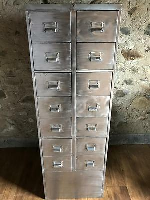 Large Vintage Industrial Stripped 14 Drawer Metal Filing Cabinet With Key