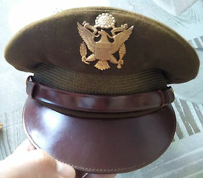 Casquette pilote d'officier US Air Force Army Crusher BRUNE - WW2 WWII