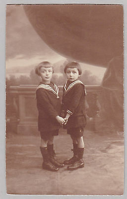 Antique Studio Photo Of Two Boys Holding Hands, Sailor Suits, Outfits, Leers