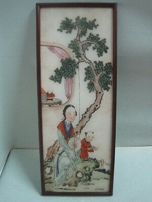 Antique Chinese Reverse Painting on Glass a lady and a child