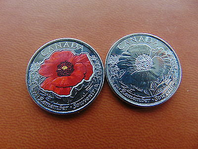 2 x 2015 Canada 25 Cents. Coloured Poppy and Plain. UNC.