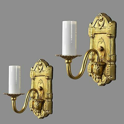Italian Brass & Crystal Wall Sconces c1950 Vintage Antique French Style Light