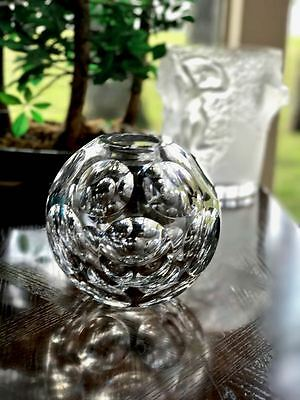 Rare Faceted Baccarat French Art Deco Crystal Round Ball Vase MINT