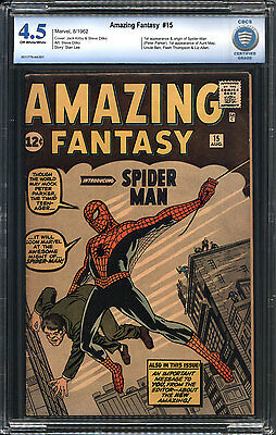 Amazing Fantasy #15 CBCS 4.5 VG+ Marvel 1st Spider-Man Peter Parker OW/W Pages
