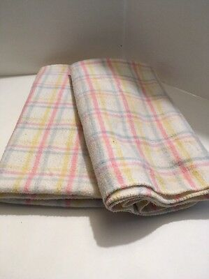 Vintage PASTEL Pink Blue Yellow Stripe BABY BLANKET Pair