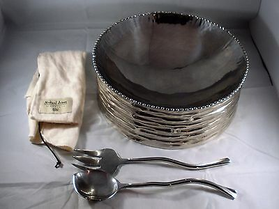 Michael ARAM Metal Bowl Texture Side and Beaded Edges With Serving Set and Bag