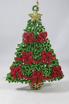 Green Glittered Tree with Red Bows Christmas Tree Ornament new holiday