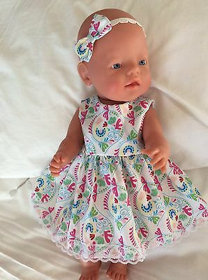 "Doll Clothes to fit 17"" Baby Born doll ~ Dress & headband ~ Paisley Print"