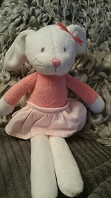 Marks And Spencer M&s Cream Bunny Rabbit In Pink Dress Baby Soft Toy