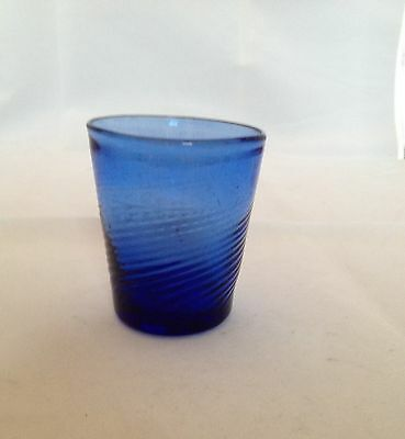 Boston Sandwich New England Mid-West Blue Swirl Whiskey Tumbler