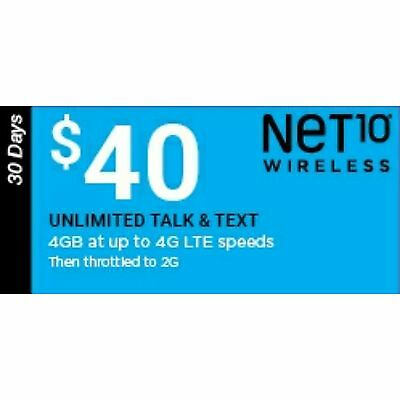 Net10 $40 3GB Monthly Plan Refill, FAST REFILL!