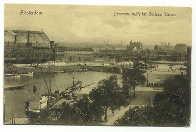 Amsterdam Panorama Nabij Centraal Station Postcard