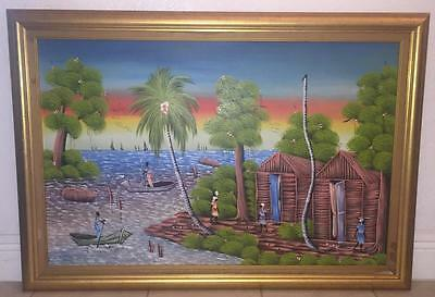 Vintage Original Framed and Signed Oil on Canvas Haitian Village Water Painting