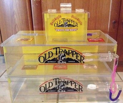 Clear Acrylic Plastic Display Case Cabinet Old Trapper Beef Jerky Lot Of 3 RARE