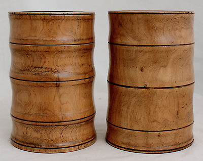 Pair of Old Chinese Republic Bamboo Brushpots Bitong Brush Pot