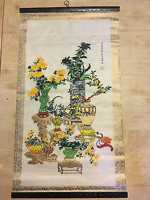 """Delicate Vintage Japanese Painting on Silk 12""""X 22"""""""