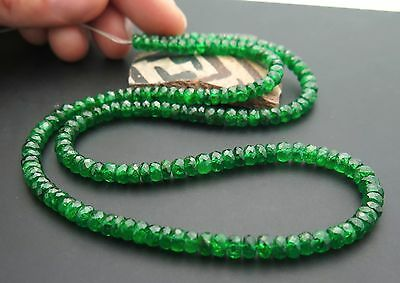 "17 STUNNING AAAA GEM GRADE GEM GREEN TSAVORITE GARNET FACETED BEADS 17"" 85.4ct"