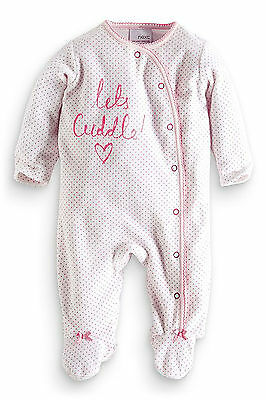 ВNWT NEXT Babygrows Playsuits • Pink Lets Cuddle Velour Sleepsuit • Cotton •3-6m