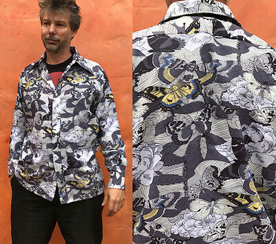 Vintage 70s Mens DISCO SHIRT Polyester Leisure Novelty Butterfly Print Male Duds
