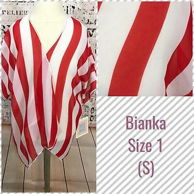 LuLaRoe Kids Bianka Kimono Size 1 Small Kids 2T-4 Red White Stripe Americana NWT