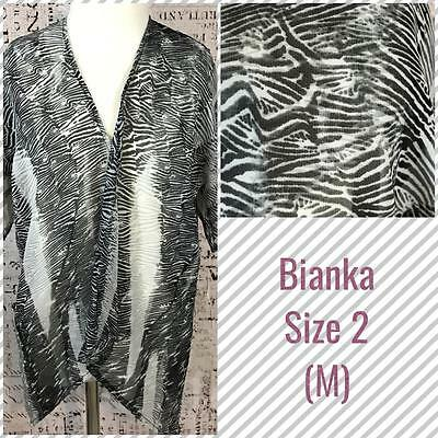 LuLaRoe Kids Bianka Kimono Size 2 Medium 6-10 Animal Style Black White Print NWT