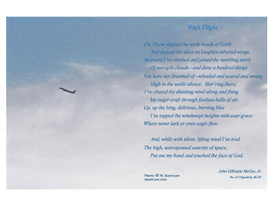 High Flight Poem - Orig Aviation Sky Photo - Pilot Gift