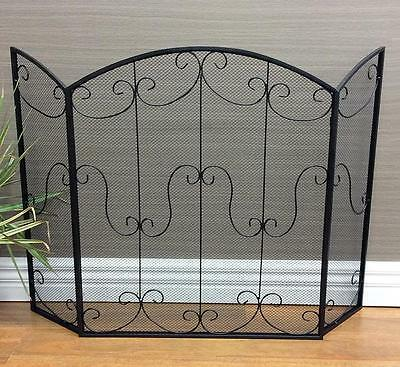 Decorative French Provincial/Antique Style 3 Panel Black Fireplace/Fire Screen