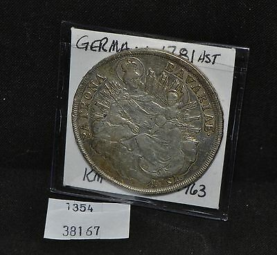 West Point Coins ~ Germany Bavaria Thaler 1781 HST Dav #1963, KM#259 Silver Coin