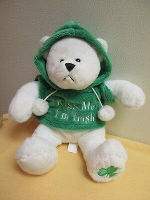 Ganz Kiss Me I'm Irish Bear Hoodie Shamrock St Patricks Day Rare