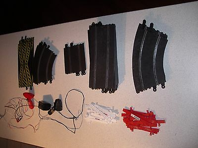 Scalextric track, assorted and 2 controllers with power pack