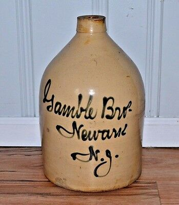 Gamble Brothers Newark NJ Blue Decorated Script Stoneware Jug