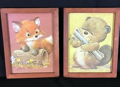 VTG Cute Kawaii Forest Animal Wall Art- Baby Fox & Beaver - Nursery Decor - Wood