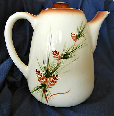 Vintage ROMCO Artist Painted Coffee Pot Classic Pine Cone Pattern Brown