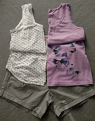 Maternity Clothes TWO OUTFITS Gray Shorts Sz 12 Tanks Navy print and Purple Sz L