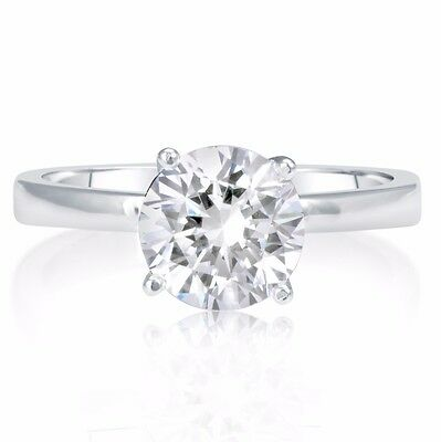 1.02 Ct Round Cut D/vs Diamond Solitaire Engagement Ring 14K White Gold