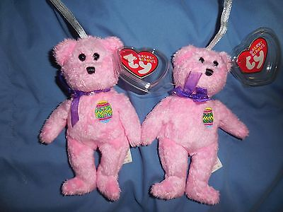 Lot of 2 Ty Eggs pink Easter teddy Basket Teenie Beanie Baby new with tags