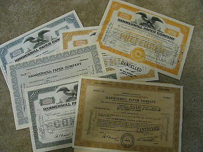 Hammermill Paper Company Stock Certificates Nice Selection
