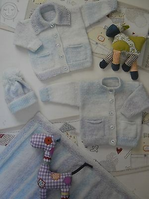 Cardigans, Hat, Blanket ~ Premmie to 1-2 yrs ~ Baby DK / 8 ply Knitting Pattern