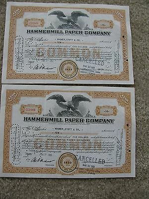 Hammermill Paper Company Stock Certificates - Commmon 1951