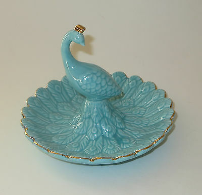 Peacock Ceramic Ring Holder Blue Gold New Jewelry