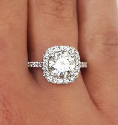 2.82 Ct Round Cut D/vs2 Diamond Solitaire Engagement Ring 18K White Gold