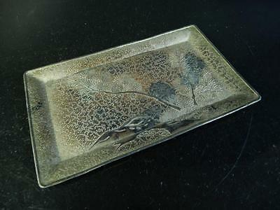 H1589: Japanese Metal Pine sculpture TRAY/Ornamental plate Tea Ceremony